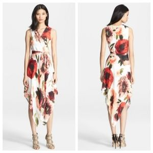 Haute Hippie Asymmetrical Silk Wrap Dress